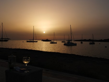 Sunset, Port, Boats, Sea, Wine, Ibiza, Summer