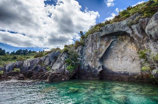New Zealand, Mural, Maori, Rock, Water, Sea, Relief