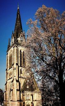 Church, Steeple, Sky, Kassel, Tower, Tree, Blue, Old