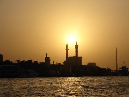 Dubai, Sunset, Orient, Building, Minaret, Sea