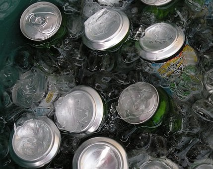 Cans, Drinks, Ice, Water, Aluminum, Chilled