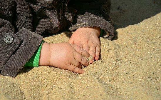 Hands, Children's Hands, Sand, Feel, Human, Summer