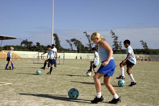 Girls, Boys, Playing, Soccer, Chiildren, Kids, Game