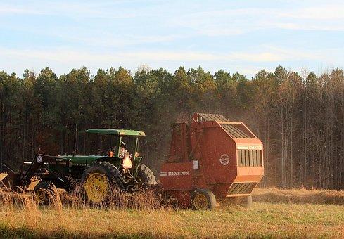 Tractor, Hay Baler, Baling Machine, Farming, Making Hay
