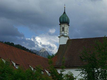 Mountain, Säuling, Light, Dark, Clouds, Church