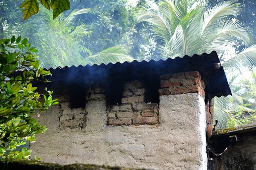Old Village House, Chimney, Smoke, Smoking