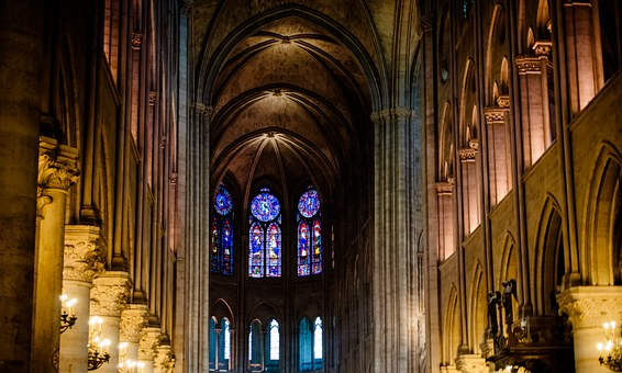 Notre-dame, Columns, Stained Glass Windows, Interior