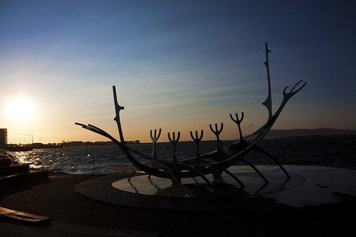 Solar Voyager, Iceland, Sunset, Landscape, Boat, Viking