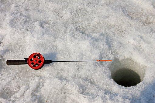 Fishing, Rod, Hole, Ice, Winter