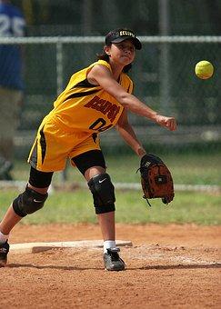 Softball, Throwing, Girl, Action, Ball, Glove