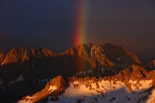 Zugspitze, Bavaria, Rainbow, Shiver, Panorama, Alpine