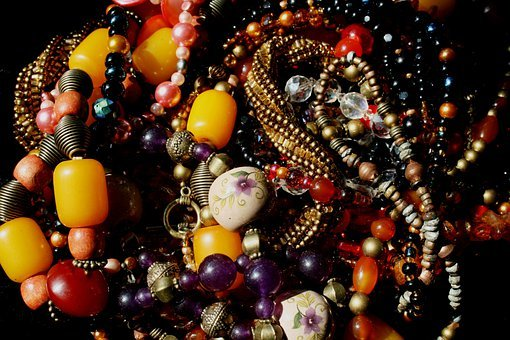 Beads, Bead Necklaces, Multi-colored, Amber, Amethyst