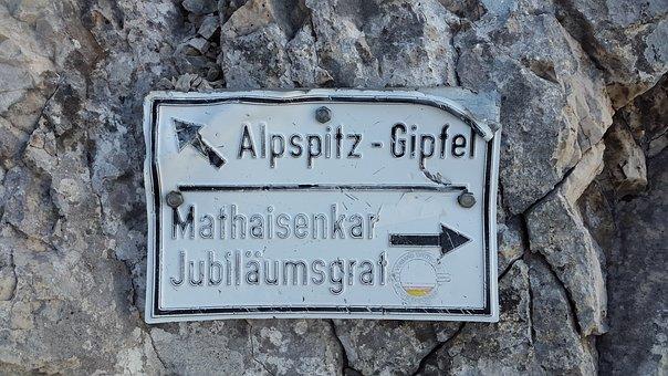 Alpspitze, Arête, Directory, Shield, Alpine