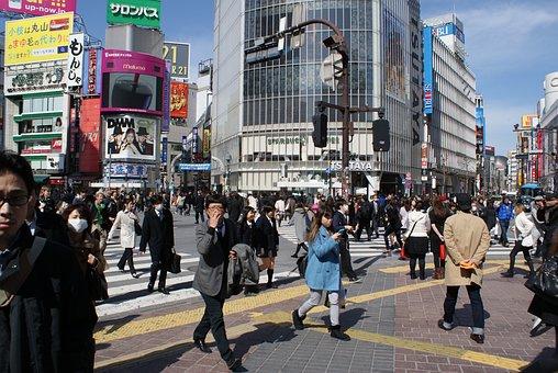Tokyo, Shibuya, Junction, Road, Traffic, City, Asia