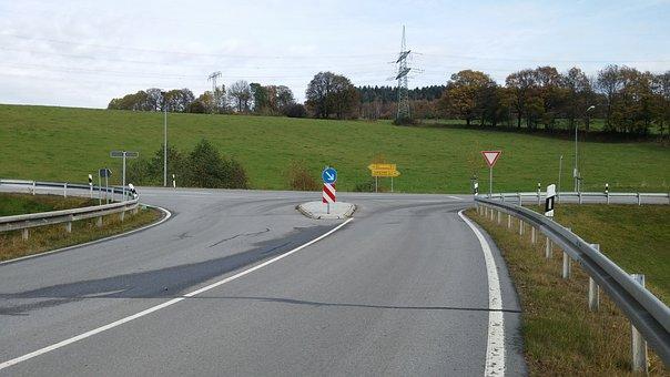 Junction, Traffic Island, Road, Guard Rail, B101