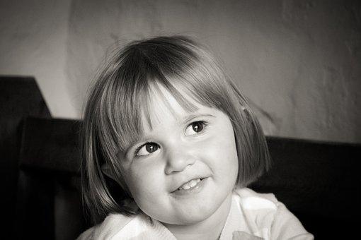 Girl, Toddler, Child, Baby Girl, Black White, Happy