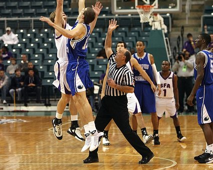 Basketball, Jump Ball, Referee, Players, Action, Sport