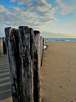 Groynes, Sea, Ebb, Clouds, Sky, Sand, Beach, Holland