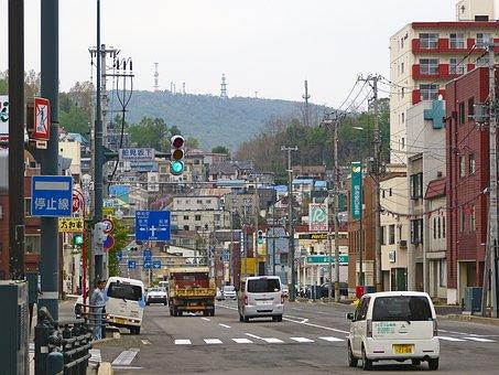 Japan, Otaru, Road, Buildings, Houses, Cars, City