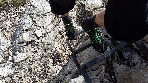 Climbing, Ladder Rungs, Rise, Alpspitze, Head, Kicks