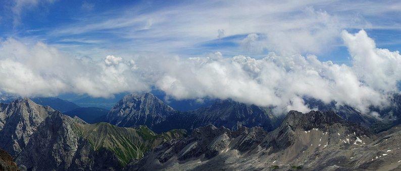 Zugspitze, Mountain Panorama, Clouds, Cloud Band, Sky