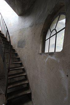 Stairs, Window, Tower, Concrete, Metal, Round, Security