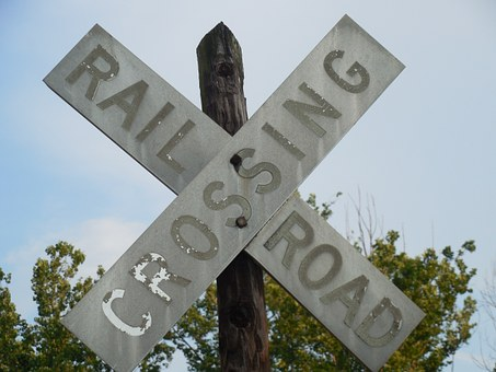 Crossing, Railroad, Train, Sign, Transportation, Road