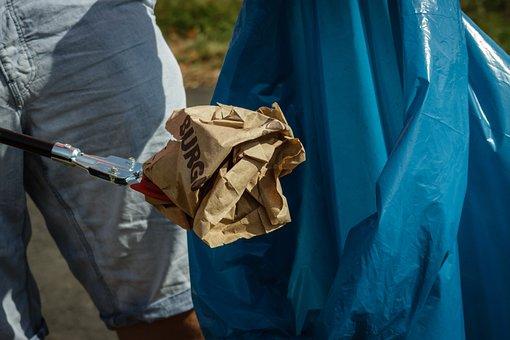 Garbage, Collect, Disposal, Bag, Garbage Bag, Blue