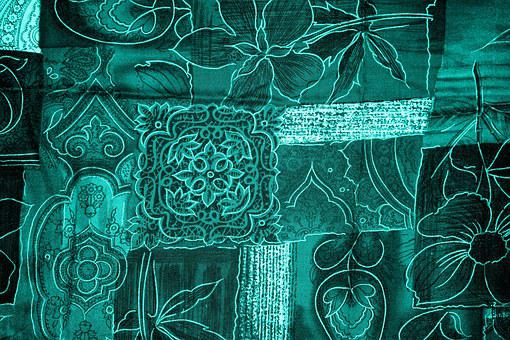 Background, Patchwork, Flowers, Blue, Turquoise, Fabric