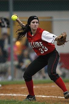 Softball, Player, Female, Fielding, Throwing, Glove