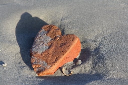 Heart, Sea, Stone, Sand, Beach, Love, Symbol, Holiday