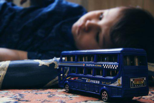 Sad Child, Double-decker, Toys, Kids, Baby, View, Boy