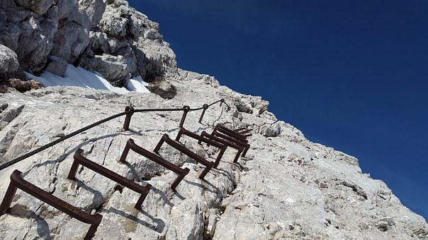 Climbing, Alpspitze, Head, Ladder Rungs, Kicks