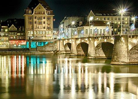 Basel, Rhine, Night, Lights, Mirroring, Gold