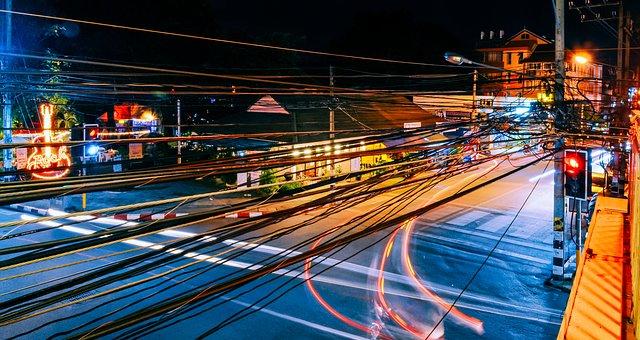 Street Lights, Junction, Night, Neon, Lights, Urban