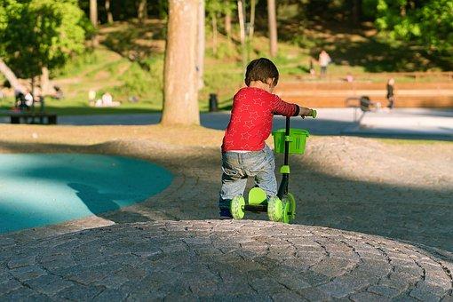 Boy, Scooter, Kick, Bike, Kid, Child, Male, Son