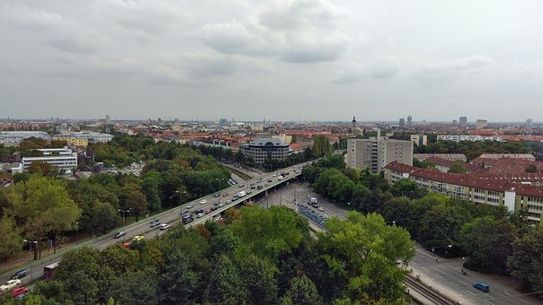 Munich, Skyline, Clouds, City, Road, Jam, Busy Town