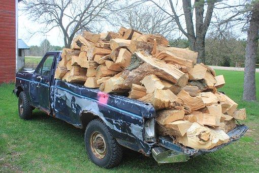 Firewood, Wood, Overload, Pick-up, Woodpile