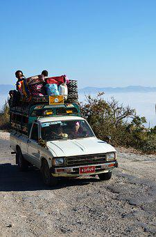 Auto, Travel, Overloaded, Luggage, Roof Luggage, Drive