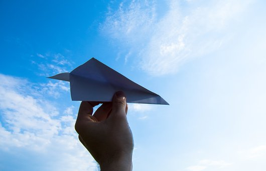 Paper Plane, The Hand, Sky, Throw, Clouds, Paper