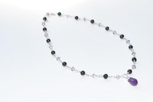Pearl Necklace, Necklace, Black Pearls, Amethyst