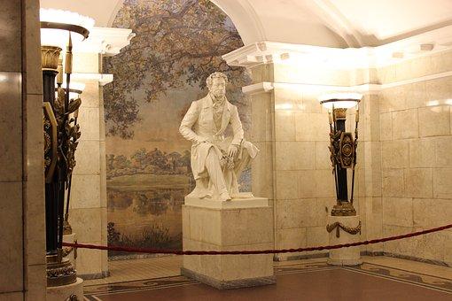 Pushkin, Statue, Metro Pushkinskaya, Metro
