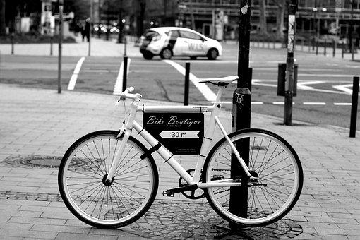 Bike, Road Bike, Racing Cyclists, Black And White