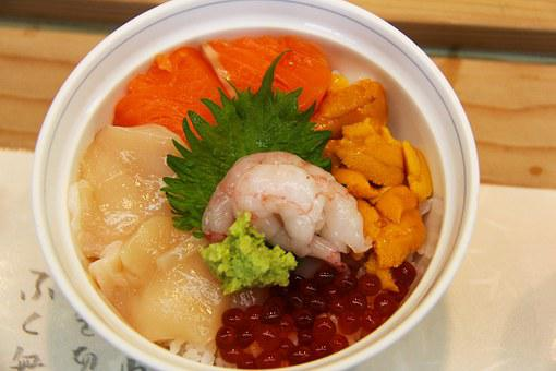 Sea Urchin, Roe, Salmon, Fish, Prawn, Food, Wasabe, Raw