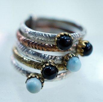 Larimar, Onyx, Amethyst, Ring, Sterling Silver, Stone