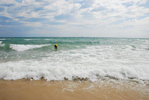 Sea, Waves, Beach, Water, Spray, Horizon, Sky, Clouds