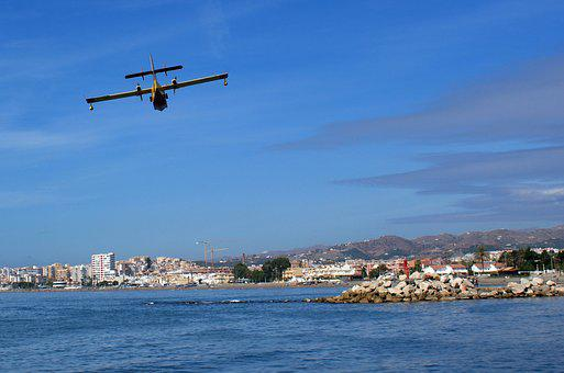 Sea, Plane, Aircraft, Sky, Beach, Breakwater, Clouds