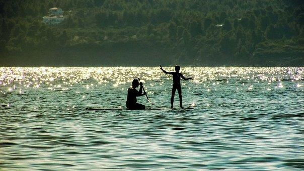 Paddle Board, Sea, Summer, Sunlight, Shadows