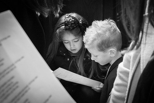 Church, Singing, Hymn, Brother And Sister, Toddlers