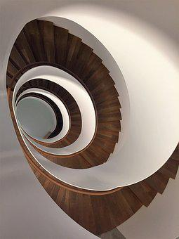 Stairs, Spiral, Wood, Gradually, Architecture